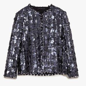 NWT Zara sequin tweed blazer blogger favorite